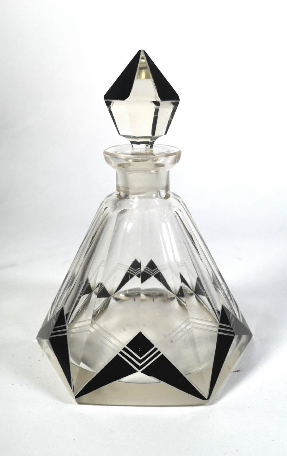 large art deco enamel overlay crystal glass dressing table perfume bottle