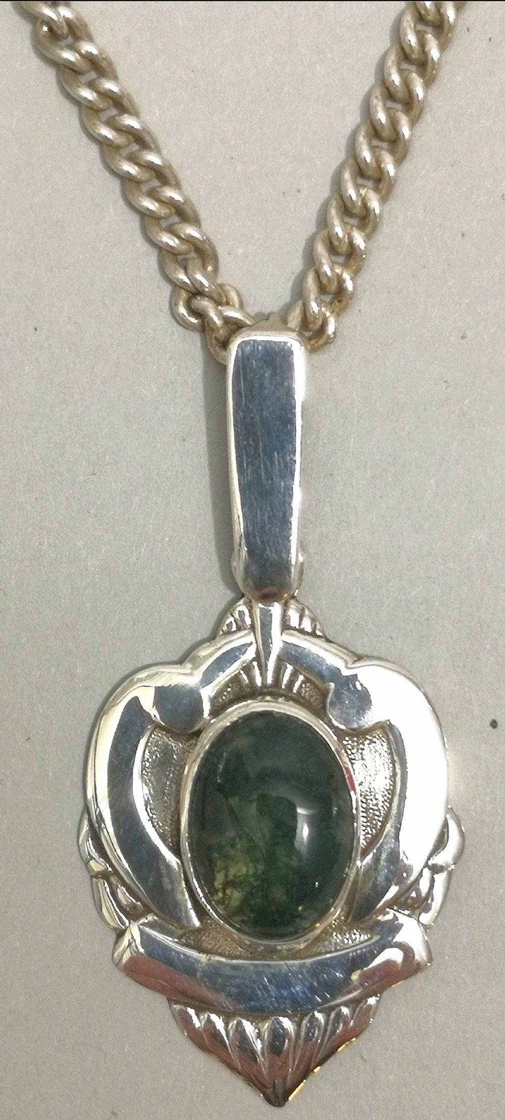 edwardian art nouveau sterling silver moss agate pendant