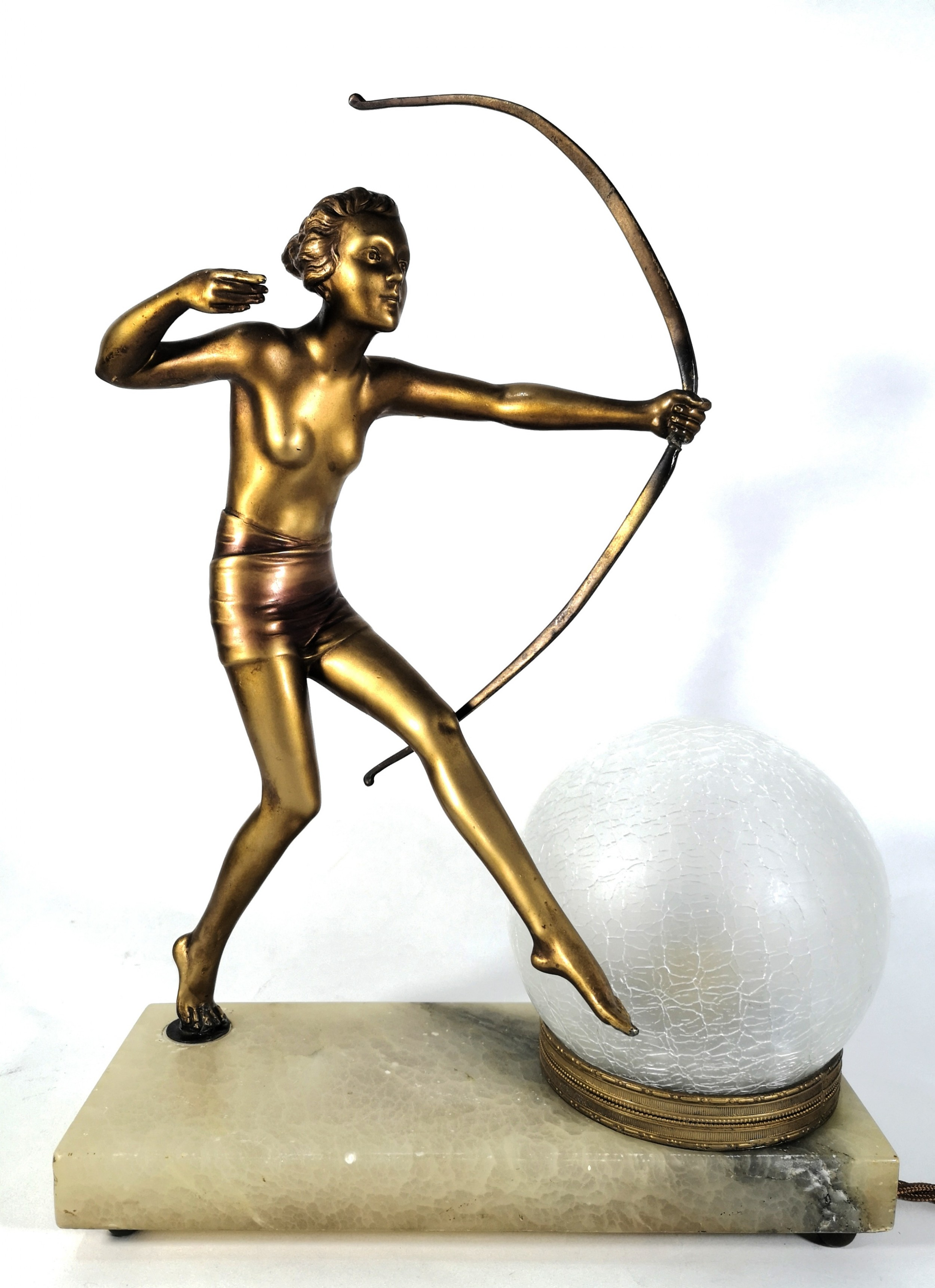 art deco lorenzl nude huntress lamp