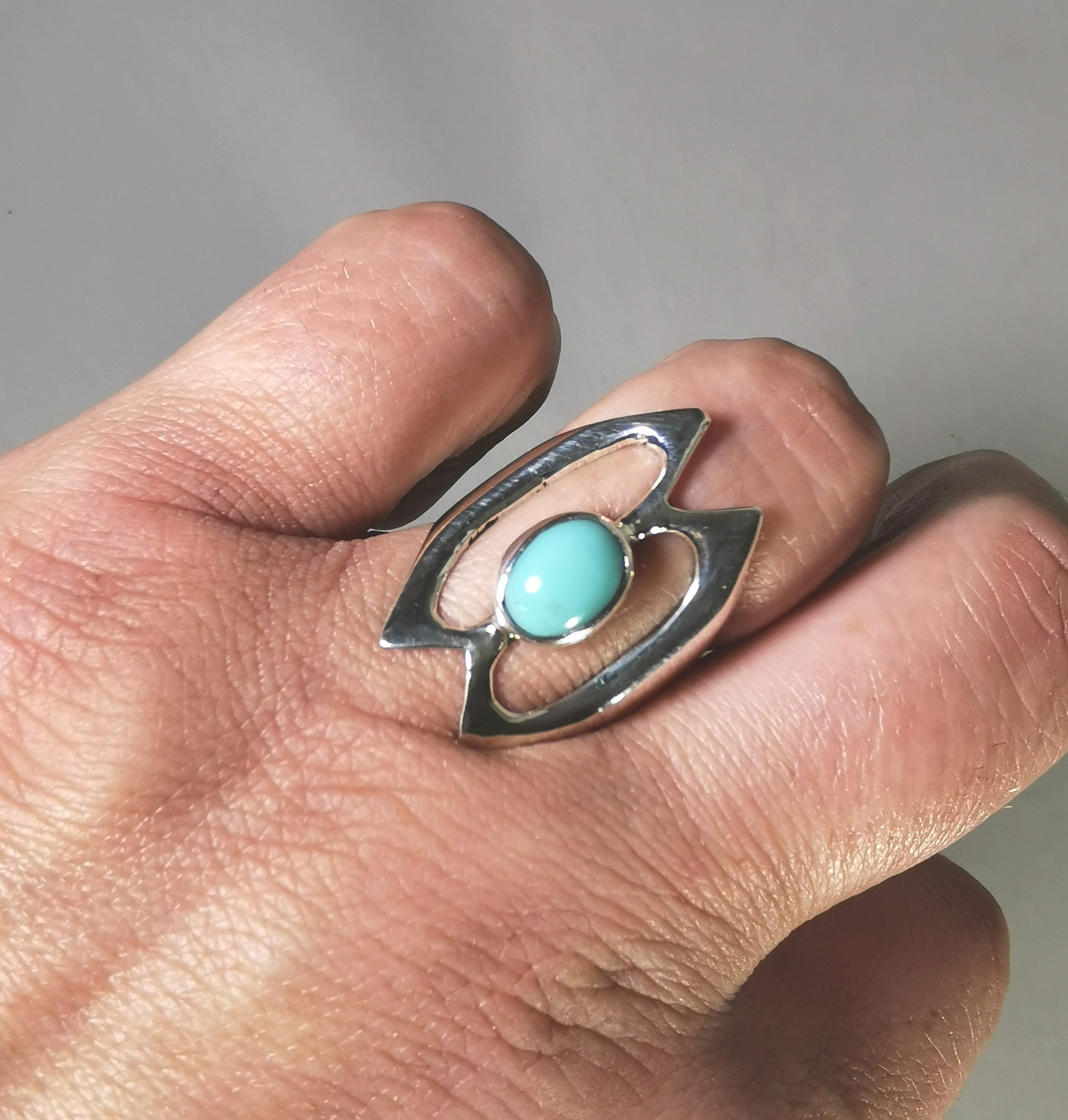 circa 1960 mexican silver turquoise ring
