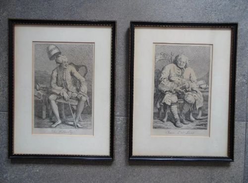 a fine pair of framed hogarth charicatures wilkes lovat of jacobite hellfire george ii interest