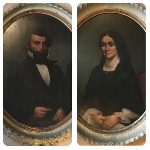 portraits in oil identified as president abraham lincoln and mrs lincoln