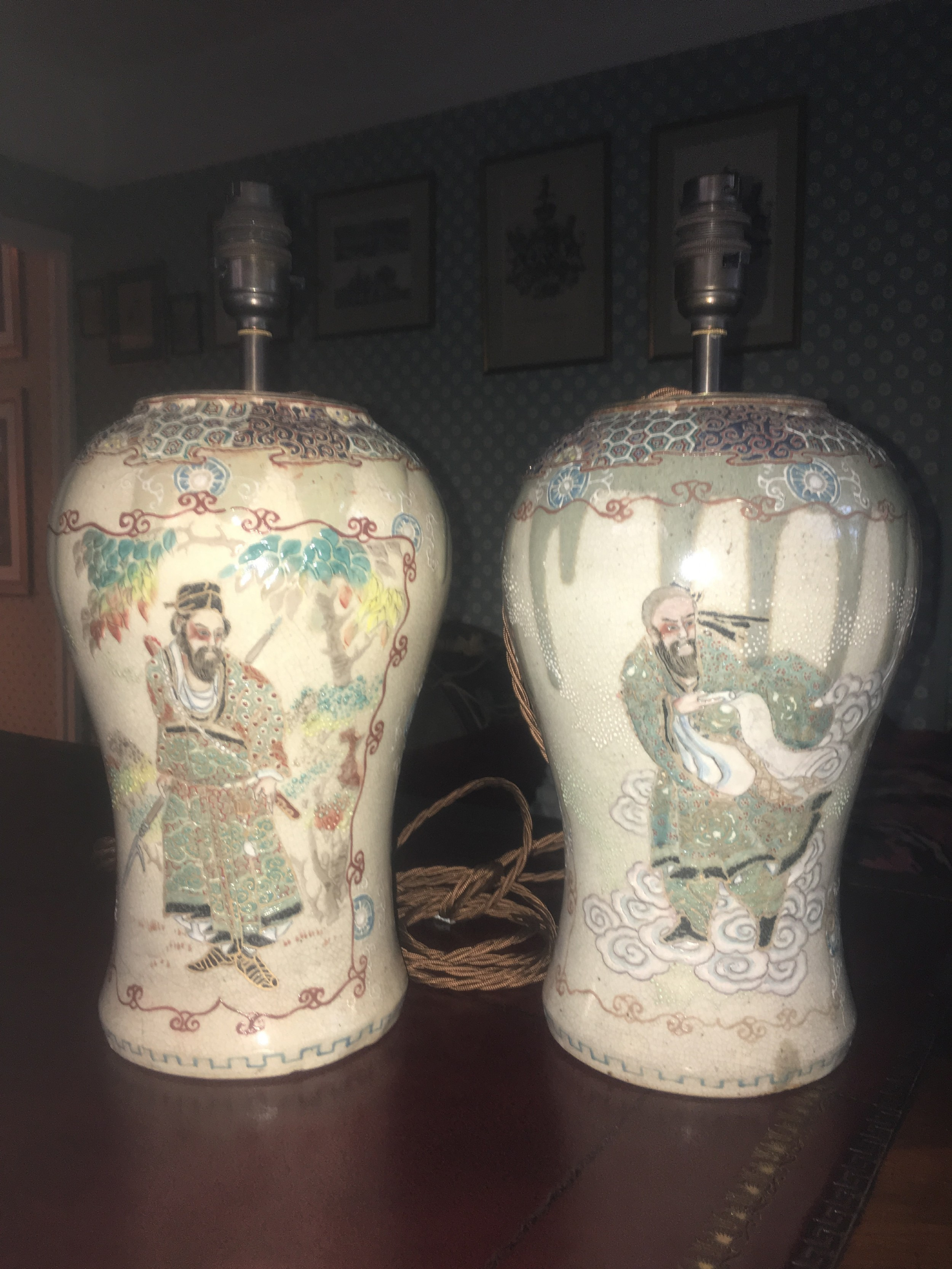 attractive pair of table lamps in the form of japanese crackle glaze satsuma style immortals vases