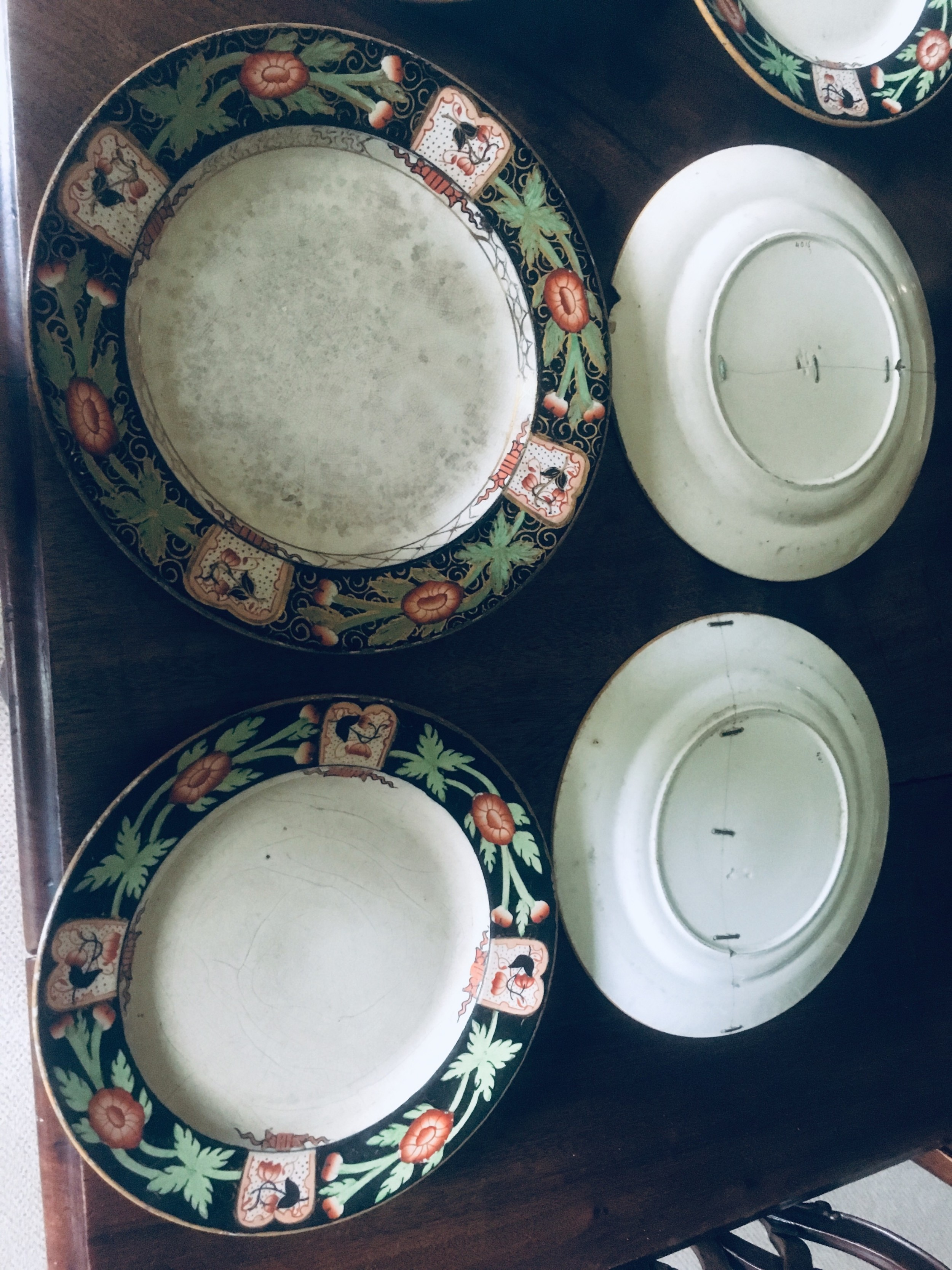 magnificent seven faded gilt imari patern ironstone china plates a few chips scratched used and faded stapled and glued fantastic