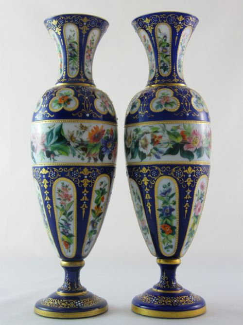 Pr Baccarat Opaline Glass Vases 180808 Sellingantiques