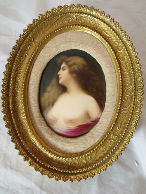 hand painted porcelain plaque of a victorian lady mounted in oval gilt frame signed bohm
