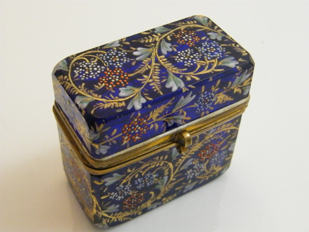 Fine Moser Metal Mounted Cobalt Blue Glass Casket  Circa