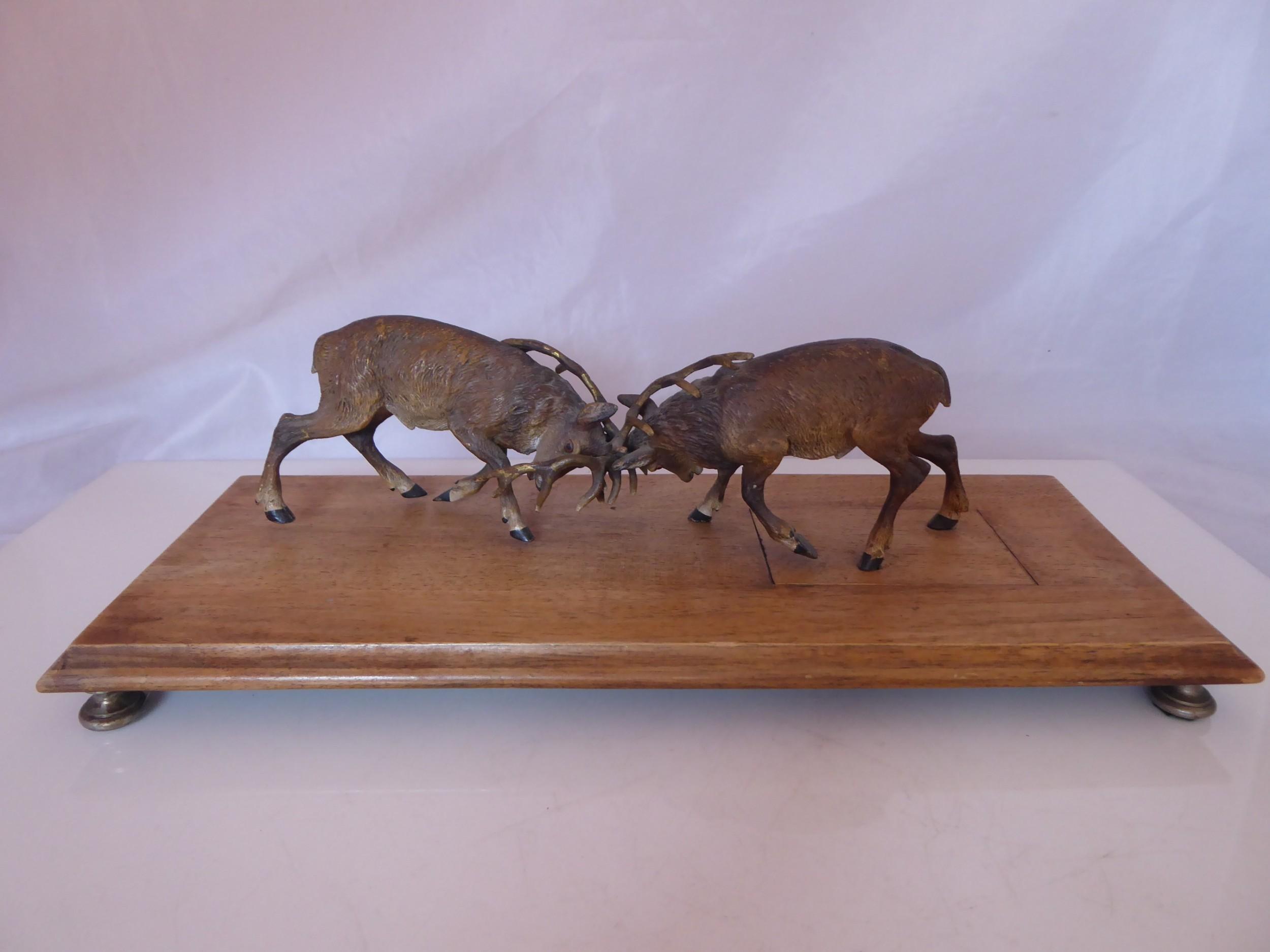 antique cold painted vienna bronze rutting deer desk letter clip