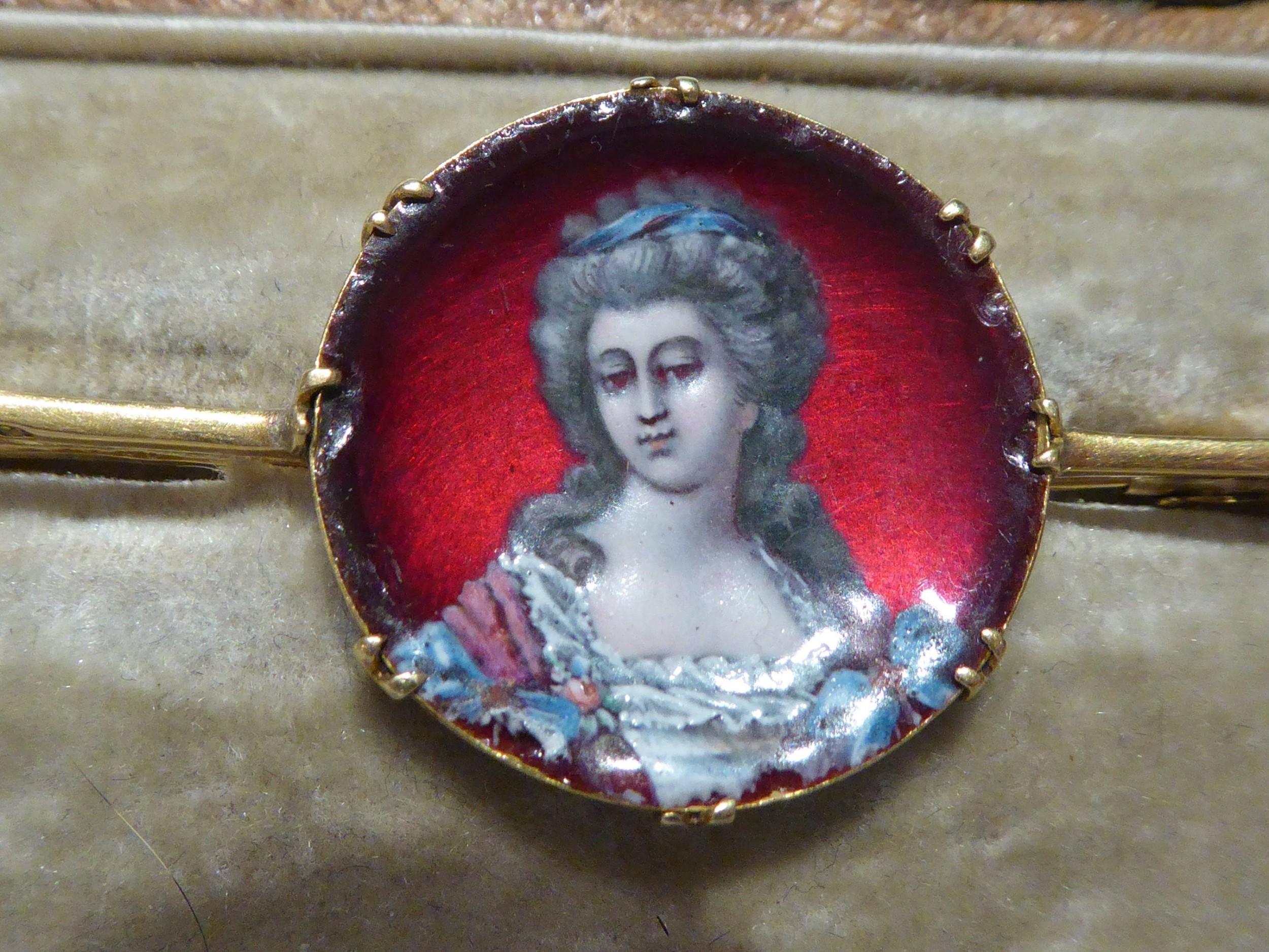 18ct gold french enamel portrait brooch