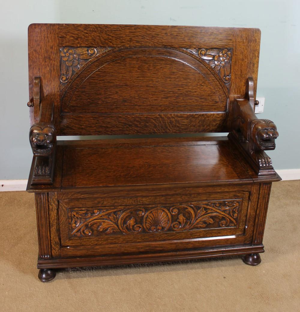 Antique Oak Monks Bench Hall Set Settle 245504