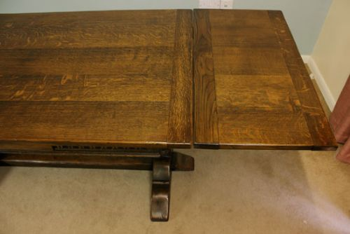 Antique Oak Draw Leaf Refectory Extending Dining Table
