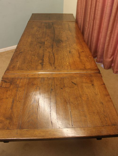 Antique Oak Refectory Draw Leaf Farmhouse Dining Table ...