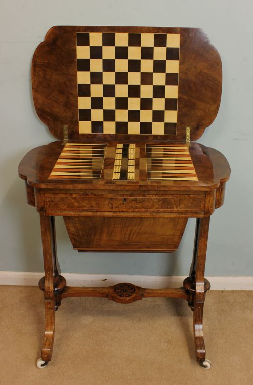 Antique Victorian Sewing Table Backgammon Games Table