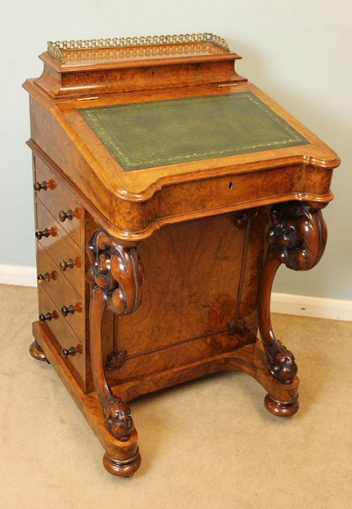 victorian burr walnut davenport desk - Victorian Burr Walnut Davenport Desk,  347087 Sellingantiques.co - Antique Davenport Desk Antique Furniture