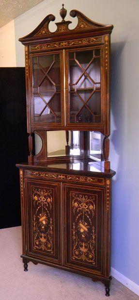 edwardian inlaid display corner cupboard cabinet