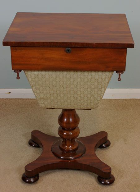 antique victorian mahogany work table sewing table. Black Bedroom Furniture Sets. Home Design Ideas