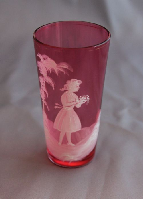 antique mary gregory decorated cranberry glass tumbler beaker
