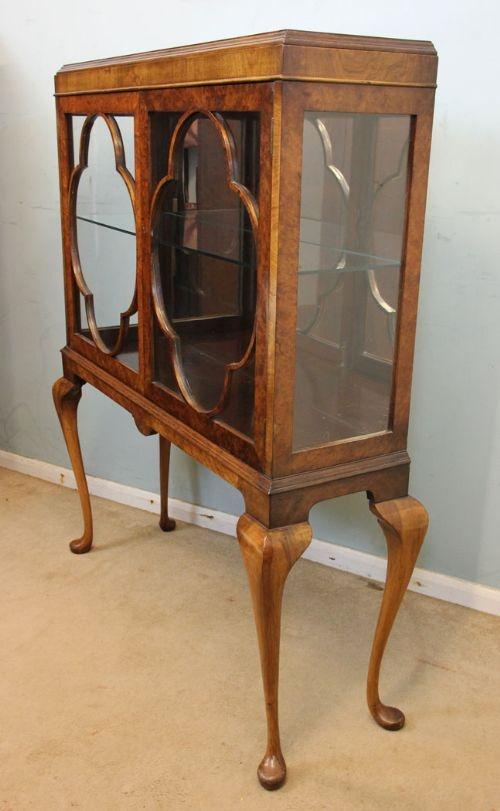 Burr Walnut Queen Anne Style Display Cabinet 465534
