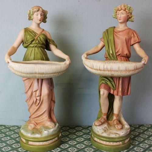 antique pair of royal dux porcelain figurines
