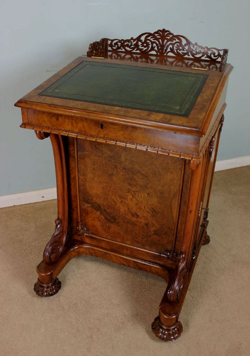 antique victorian burr walnut davenport writing desk