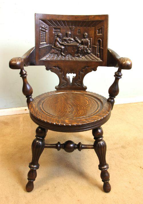 antique oak desk armchair carved tavern scene