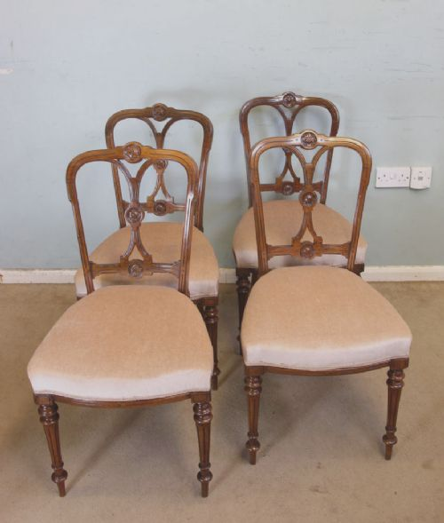 set of four antique victorian walnut dining chairs