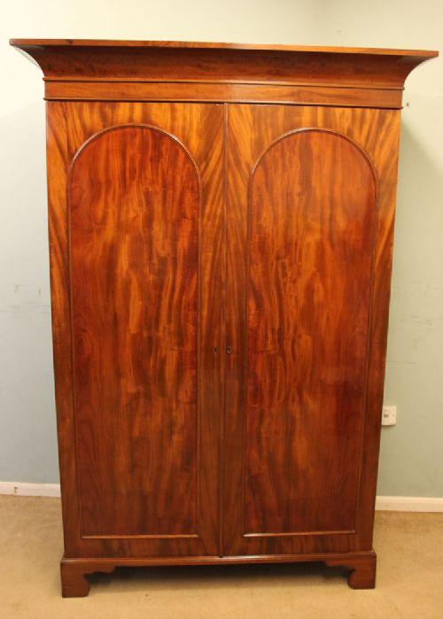 antique victorian mahogany hanging two door wardrobe