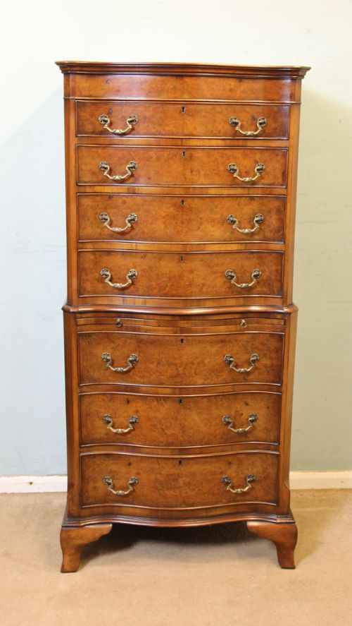 antique burr walnut serpentine front chest on chest tallboy
