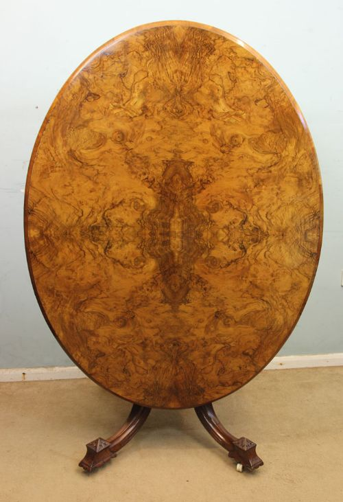 antique victorian burr walnut oval loo dining table