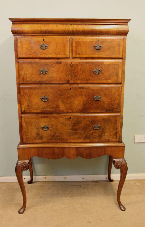 antique burr walnut chest drawers tallboy