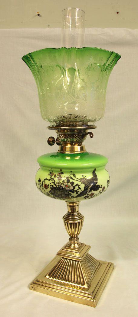 antique victorian green glass oil lamp original frilled green shade