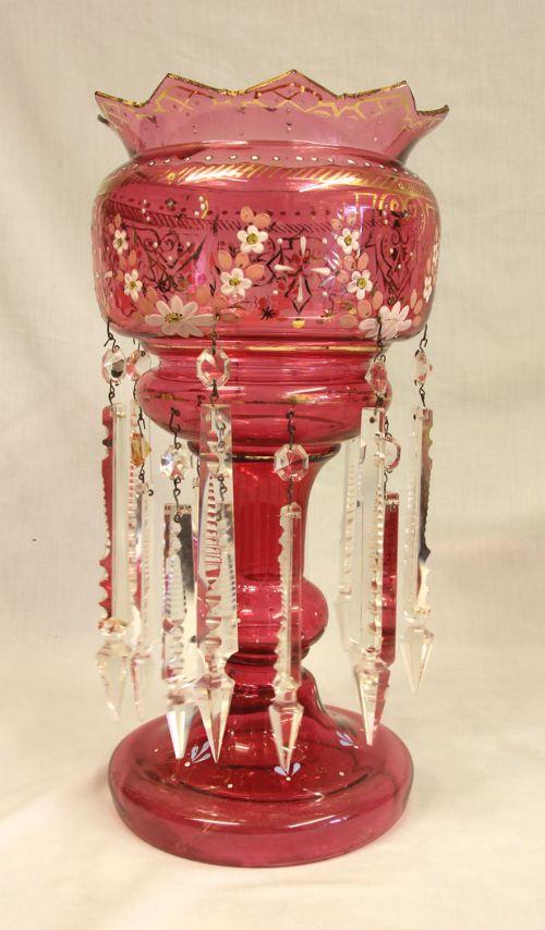 antique victorian cranberry mantle table lustre