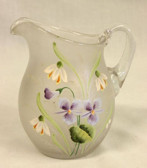 antique pretty frosted glass decorated jug