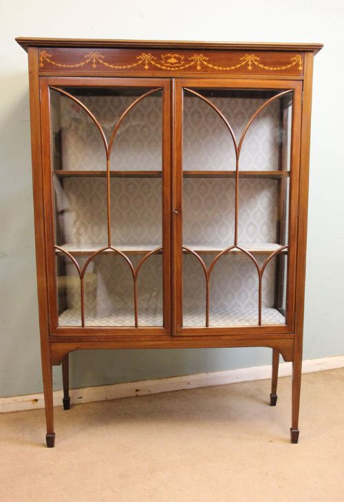 antique mahogany inlaid display cabinet