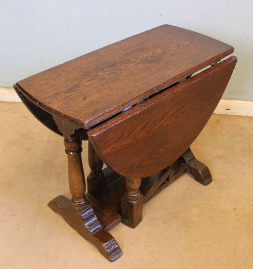 antique oak drop leaf gate leg occasional table