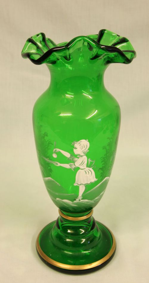 mary gregory painted green glass shaped vase