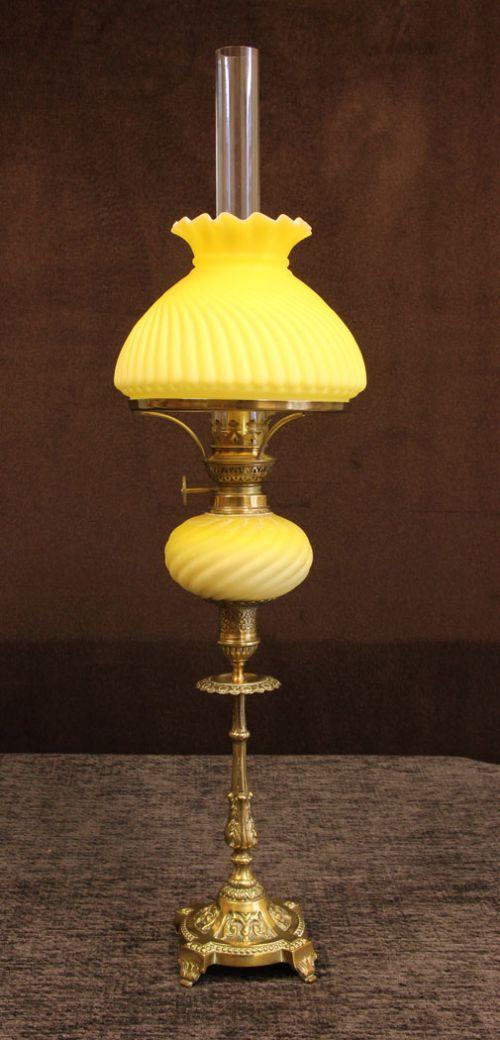antique victorian satin glass peg oil lamp