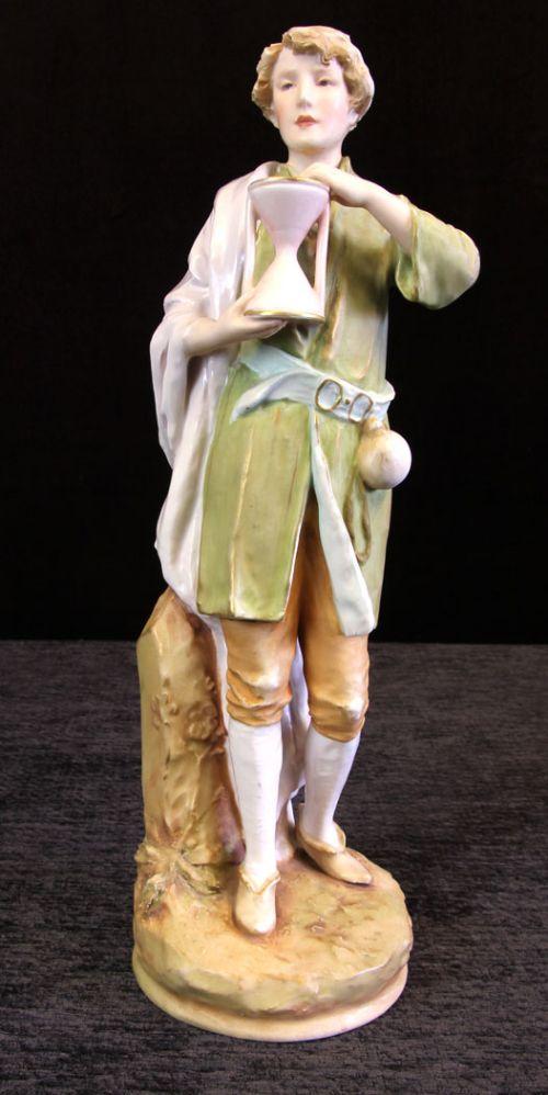 antique royal dux figure of young man