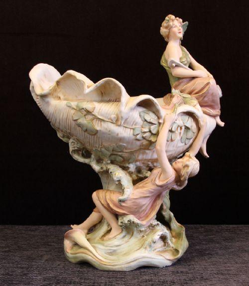 antique royal dux large shell centre piece