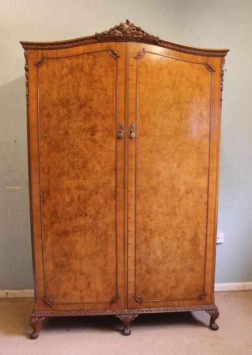 antique burr walnut double wardrobe