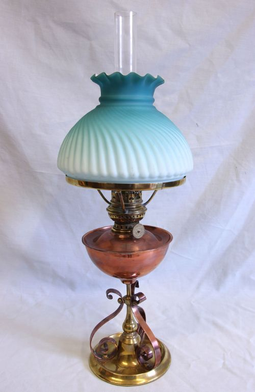 antique miniature table oil lamp shade