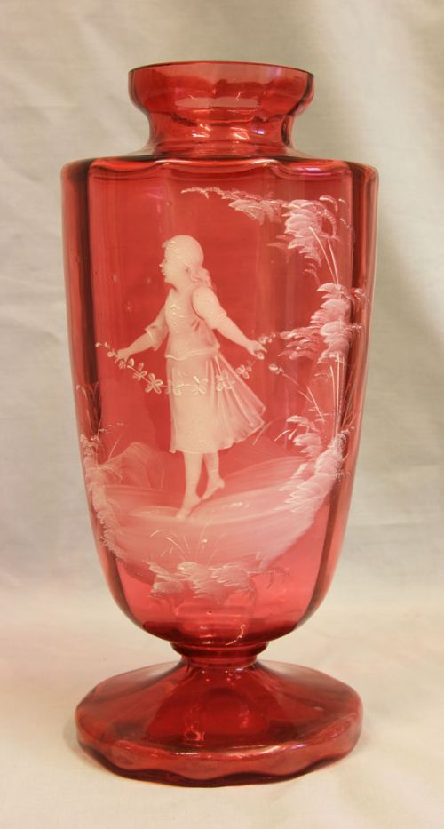 antique large mary gregory cranberry vase
