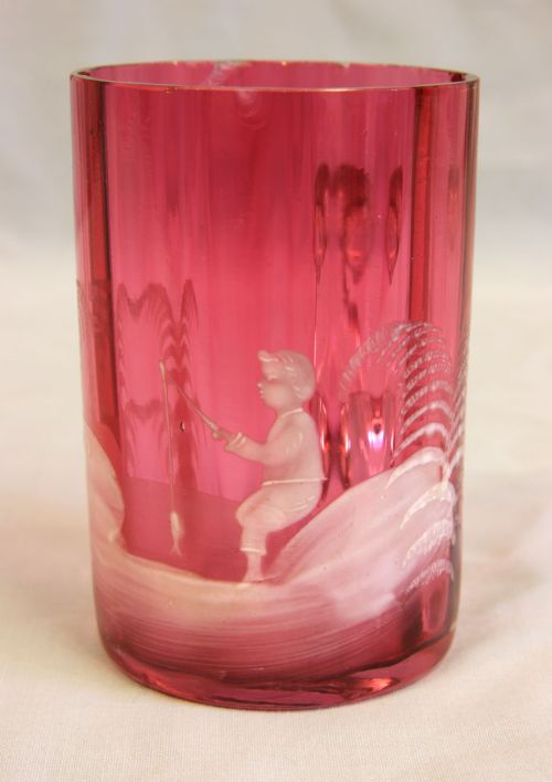 antique mary gregory cranberry glass mug