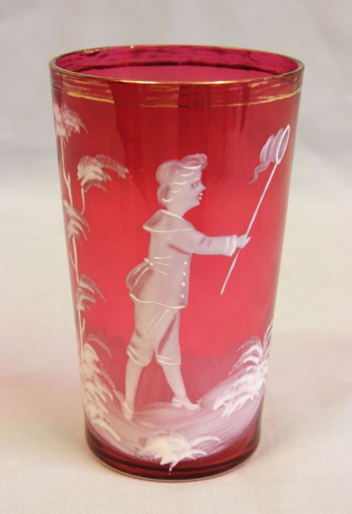 antique mary gregory cranberry glass tot