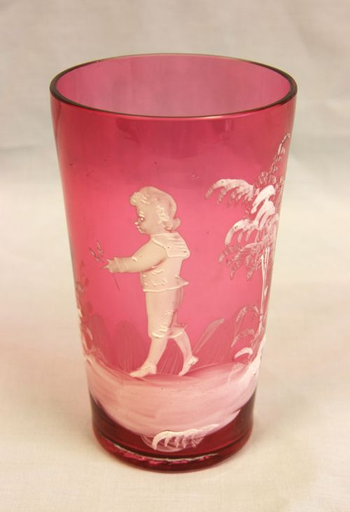antique mary gregory cranberry glass beaker