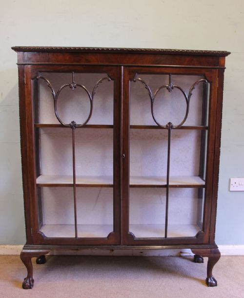 antique mahogany glazed display cabinet