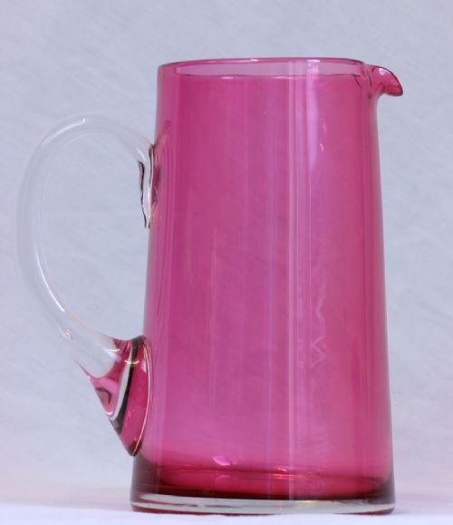 antique large cranberry glass jug pitcher