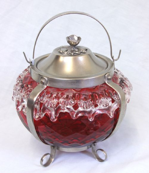 fine antique victorian cranberry glass large biscuit barrel