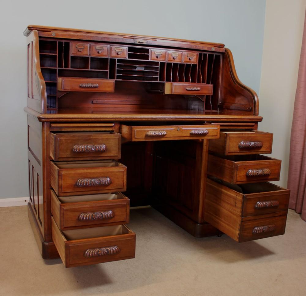 antique mahogany roll top desk office writing desk 245502 sellingantiquescouk antique office table