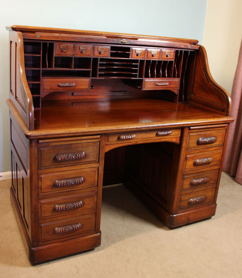 Antique Mahogany Roll Top Desk Office Writing Desk 245502